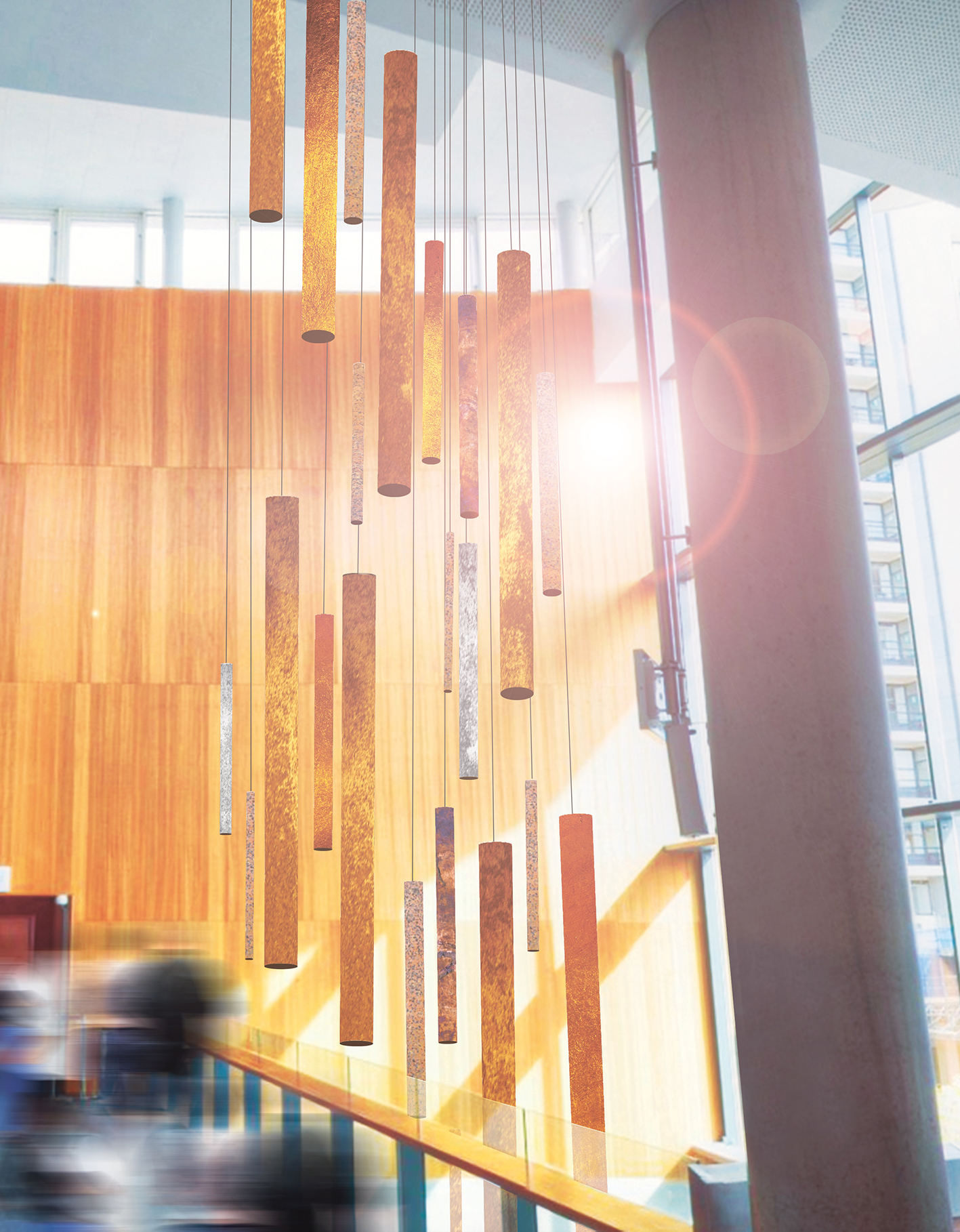 Artist impression of CHIME sculpture showing long cylinders of metal suspended from the ceiling of a sun-lit open space